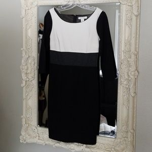 Beautiful grey white and black color block dress